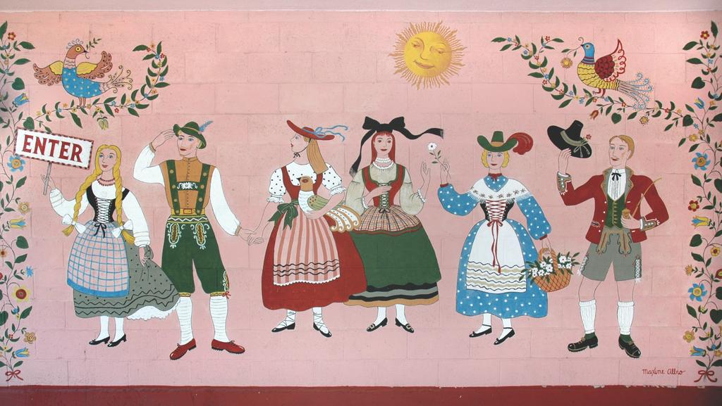 Bavarian-themed welcome mural